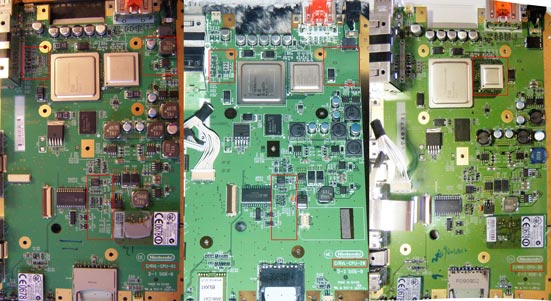 Wii PCB comparison - C/RVL-CPU-01 vs -20 vs -30